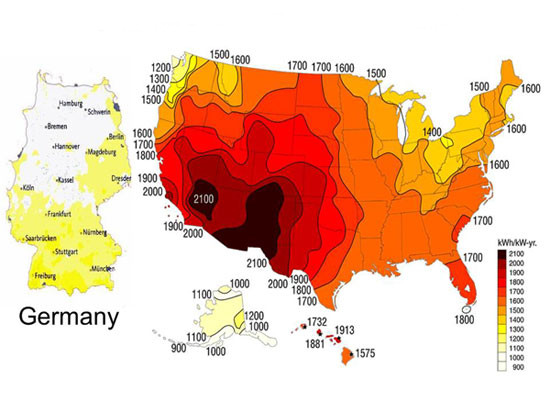 us solar insolation compared to germany